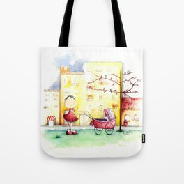 Let puppy ride Tote Bag