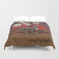 metropolis Duvet Covers featuring Metropolis by beataS