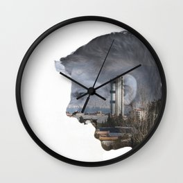 Angry shouting man face on cityscape Wall Clock