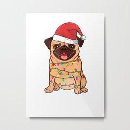Merry Xmas Pugs Ugly Sweater Tshirt Christmas Dog Metal Print