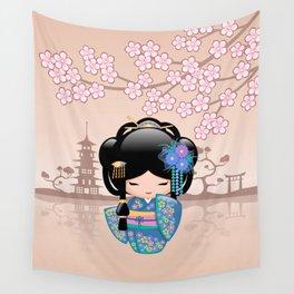 Japanese Keiko Kokeshi Doll Wall Tapestry