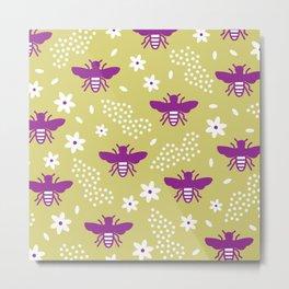 Bees Diors Metal Print