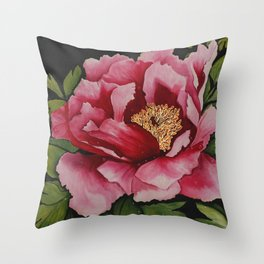 "Painted on Silk  ""Full Bloom"" Throw Pillow"