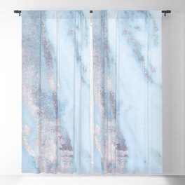 Light Blue Gray Marble Blackout Curtain