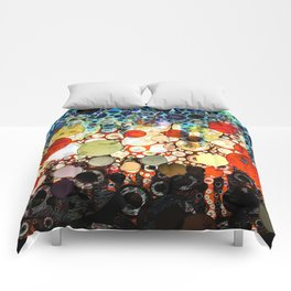 Contemporary Blue Orange Bubble Abstract Comforters