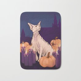 Halloween Sphynx - Candles and Pumpkins in Front of a Castle Bath Mat