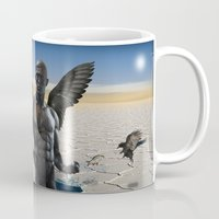 angel Mugs featuring angel  by mark ashkenazi