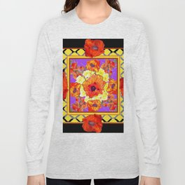 ABSTRACTED BLACK ORANGE-RED POPPIES DECORATIVE FLORAL Long Sleeve T-shirt