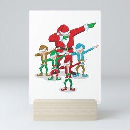 Santa Claus Christmas Dab Tee - Dabbing Santa & Elves Dabs Mini Art Print