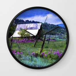 Purple Dames Rocket Ranch Saturated by CheyAnne Sexton Wall Clock