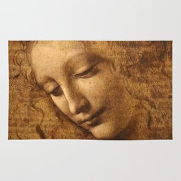 Head of a Woman Painting by Leonardo da Vinci Rug