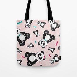 Panda Freefall in Pink Tote Bag
