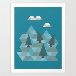Low poly land Art Print