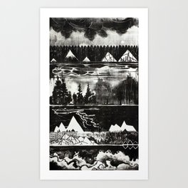 History of Water and Stone - Black and white lithograph Art Print