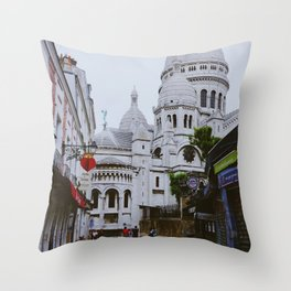 Cloudy day in Montmartre - Sacre Coeur   Paris Fine Art Travel Photography Throw Pillow