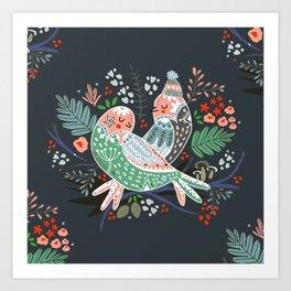 Holiday Birds Love Art Print