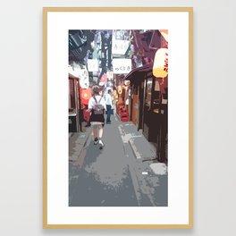 Strolling around in Shinjuku Framed Art Print