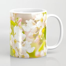 Apple tree branches with lovely flowers and buds on a pastel green background Coffee Mug
