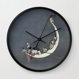 """ Moon's First Voyage"" Fairy Art by W Heath Robinson Wall Clock"
