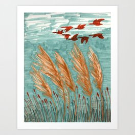 Geese Flying over Pampas Grass Art Print