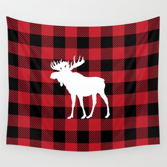 b7b6ae8f Red Buffalo Plaid Moose Wall Tapestry by jsdavies   Society6