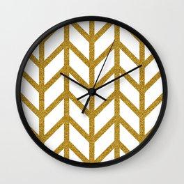 Herringbone Chevron (Chunky Metallic Gold On White) Wall Clock