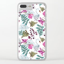 Swans and Magnolias Clear iPhone Case
