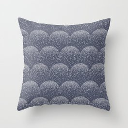 White and blue scalloped dots geometric pattern Throw Pillow