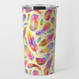 Sunset Flowers in Watercolour - Yellow Travel Mug