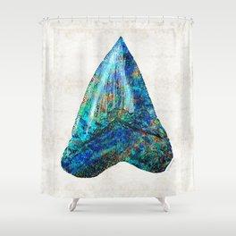 Blue Shark Tooth Art by Sharon Cummings Shower Curtain