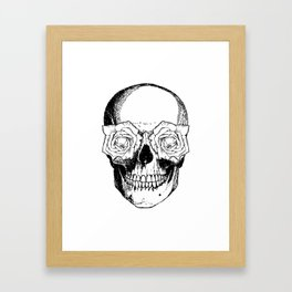 Skull and Roses | Black and White Framed Art Print