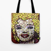 marylin monroe Tote Bags featuring MARYLIN MONROE by JANUARY FROST