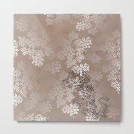 Beige Floral Leaves Shirt Metal Print