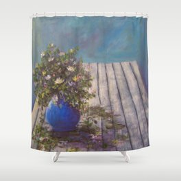 Wildflowers on a Wood Table AC141213 Shower Curtain