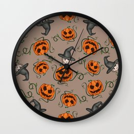 Witch and Pumpkins Wall Clock