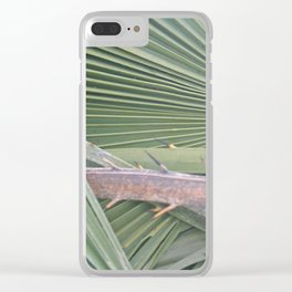 Palm leaves natural pattern Clear iPhone Case