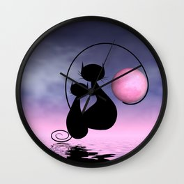 Mooncats - I can get the moon for you Wall Clock