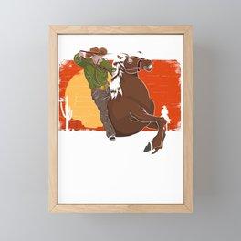 Cowboy Riding Horse Framed Mini Art Print