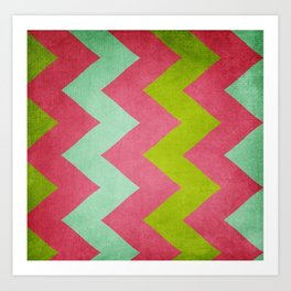 Cocktails with Lilly - Pink, Aqua, Green Chevron Art Print