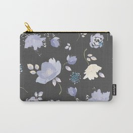 Spring watercolor flowers on Grey background Carry-All Pouch