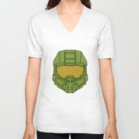 master chief V-neck T-shirts featuring Master Chief Helmet - Halo MCC by RoboKev