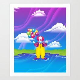 1997 It's That Scary Clown Art Print