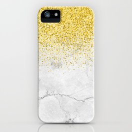Gold Glitter and Grey Marble texture iPhone Case