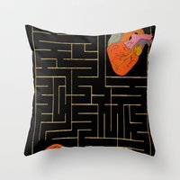 labyrinth Throw Pillows featuring labyrinth by Christina Tsevis