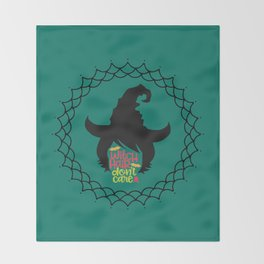 Witch Hair Don't Care-Teal Throw Blanket