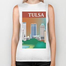 Tulsa, Oklahoma - Skyline Illustration by Loose Petals Biker Tank