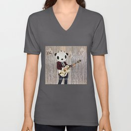 Peter Panda Rocking Out Unisex V-Neck