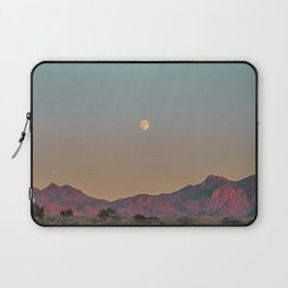 Sunset Moon Ridge // Grainy Red Mountain Range Desert Landscape Photography Yellow Fullmoon Blue Sky Laptop Sleeve