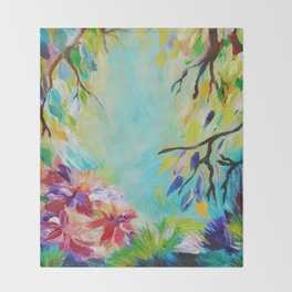 BLISS - Stunning Bold Colorful Idyllic Dream Floral Nature Landscape Secret Garden Acrylic Painting Throw Blanket
