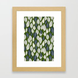 leaves and feathers green Framed Art Print